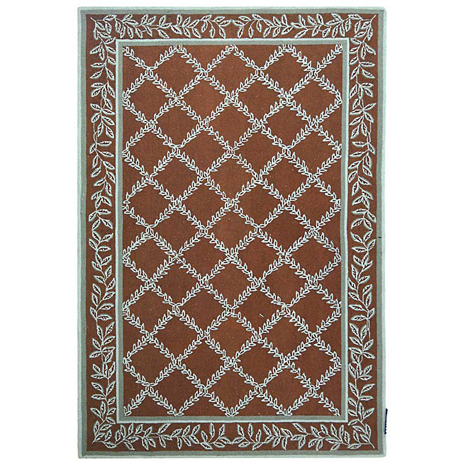 Turquoise And Brown Rug: Shop Safavieh Hand-hooked Trellis Brown/ Turquoise Blue