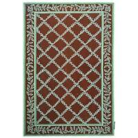 "Safavieh Hand-hooked Trellis Brown/ Turquoise Blue Wool Rug - 7'-9"" x 9'-9"""