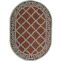 "Safavieh Hand-hooked Brown/ Turquoise Blue Wool Rug - 7'6"" x 9'6"" oval"