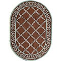 Safavieh Hand-hooked Brown/ Turquoise Blue Wool Rug (7'6 x 9'6 Oval)