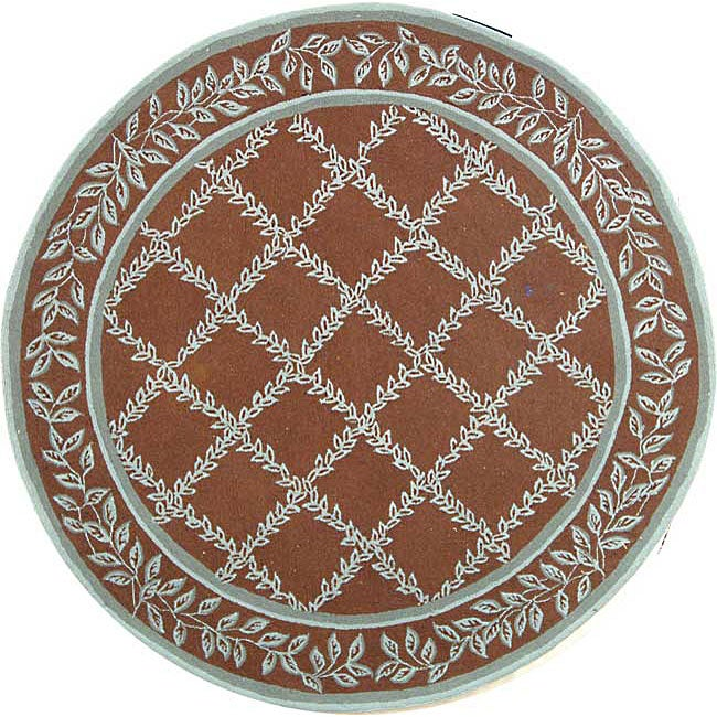 Safavieh Hand-hooked Trellis Brown/ Turquoise Blue Wool Rug (8' Round)