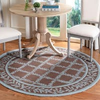 Safavieh Hand-hooked Trellis Brown/ Turquoise Blue Wool Rug - 8' x 8' Round
