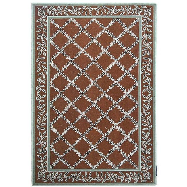 Safavieh Hand-hooked Trellis Brown/ Turquoise Blue Wool Rug (8'9 x 11'9) - Thumbnail 0