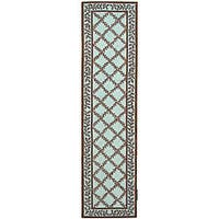"Safavieh Hand-hooked Trellis Turquoise Blue/ Brown Wool Runner Rug - 2'6"" x 10'"