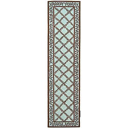 Safavieh Hand-hooked Trellis Turquoise Blue/ Brown Wool Runner (2'6 x 12')
