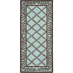 Safavieh Hand-hooked Trellis Turquoise Blue/ Brown Wool Runner (2'6 x 6')