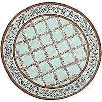 Safavieh Hand-hooked Trellis Turquoise Blue/ Brown Wool Rug - 3' x 3' round