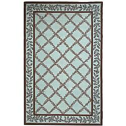 Safavieh Hand-hooked Trellis Turquoise Blue/ Brown Wool Rug (3'9 x 5'9)