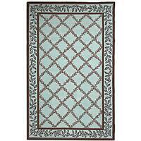 Safavieh Hand-hooked Trellis Turquoise Blue/ Brown Wool Rug - 3'9 x 5'9