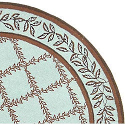 Safavieh Hand-hooked Trellis Turquoise Blue/ Brown Wool Rug (4' Round)