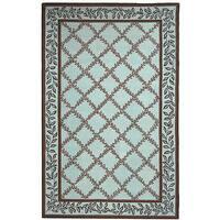 Safavieh Hand-hooked Trellis Turquoise Blue/ Brown Wool Rug - 5'3 x 8'3