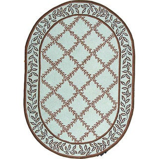 Safavieh Hand-hooked Turquoise Blue/ Brown Wool Rug (4'6 x 6'6 Oval)