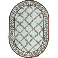 """Safavieh Hand-hooked Turquoise Blue/ Brown Wool Rug - 4'6"""" x 6'6"""" oval"""