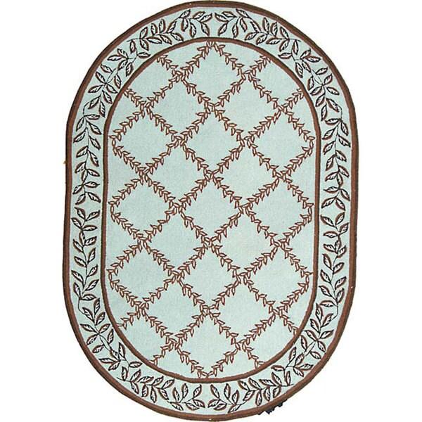Shop Safavieh Hand-hooked Turquoise Blue/ Brown Wool Rug