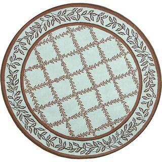 Safavieh Hand-hooked Trellis Turquoise Blue/ Brown Wool Rug (5'6 Round)