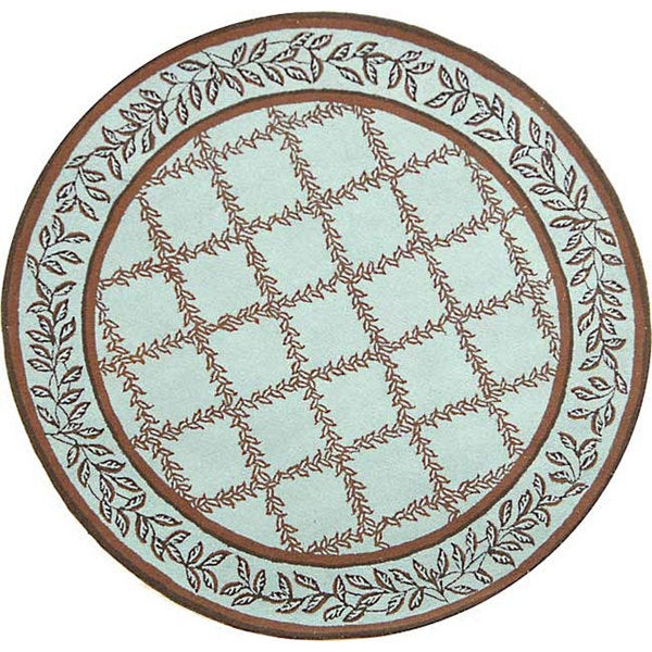 Safavieh Hand-hooked Trellis Turquoise Blue/ Brown Wool Rug (5'6 Round)