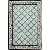 Safavieh Hand-hooked Trellis Turquoise Blue/ Brown Wool Rug - 6' x 9'