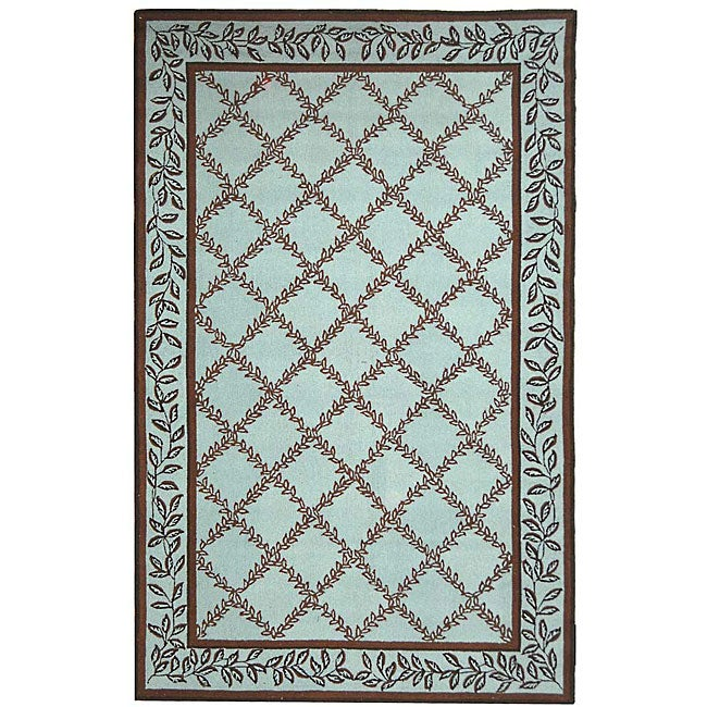 Shop Safavieh Hand-hooked Trellis Turquoise Blue/ Brown