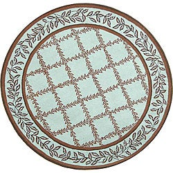 Safavieh Hand-hooked Trellis Turquoise Blue/ Brown Wool Rug (8' Round)