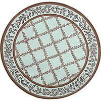 Safavieh Hand-hooked Trellis Turquoise Blue/ Brown Wool Rug - 8' x 8' Round
