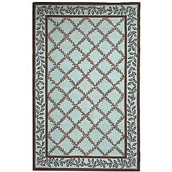 Safavieh Hand-hooked Trellis Turquoise Blue/ Brown Wool Rug - 8'9 X 11'9 - Thumbnail 0