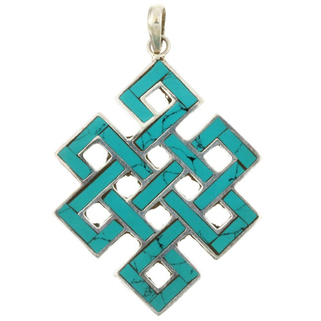 Sterling Silver 'Endless Knot' Turquoise Pendant (Nepal)