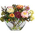 Mixed Silk Peony Arrangement with Glass Vase