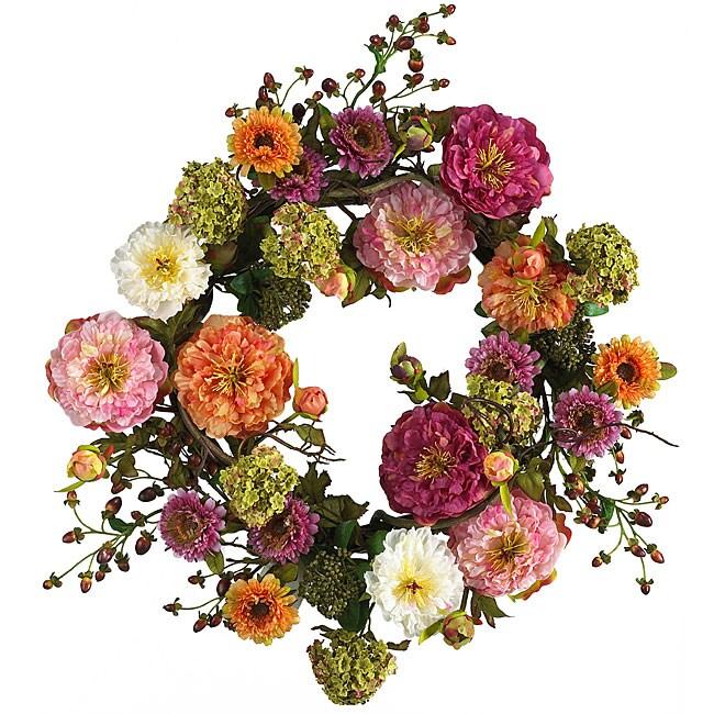 Mixed Peony 24-inch Wreath