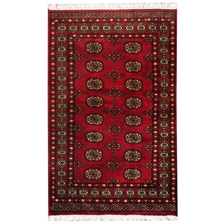 Herat Oriental Pakistan Hand-knotted Bokhara Red/ Ivory Wool Rug (3' x 5')