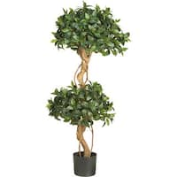 Nearly Natural Sweet Bay Silk 4-foot Double Ball Topiary Tree