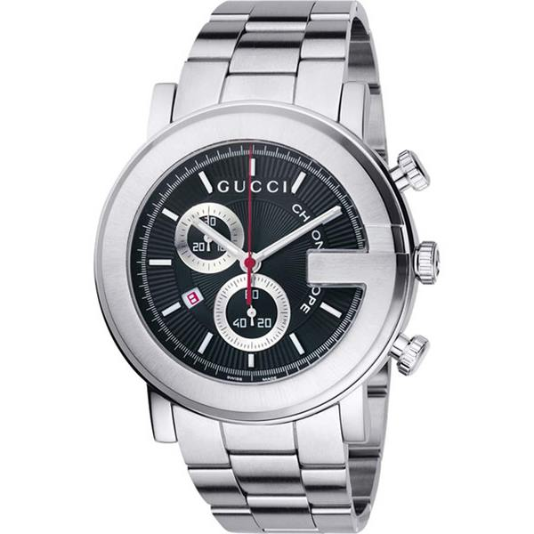113c3ebb8ab Shop Gucci 101 G Men s Round Steel Chronograph Watch - Free Shipping Today  - Overstock - 3704669