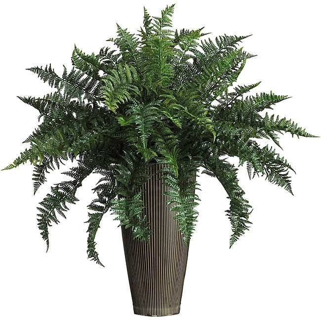 Ruffle Fern Silk Plant with Decorative Vase