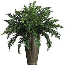 Ruffle Fern Silk Plant with Decorative Vase