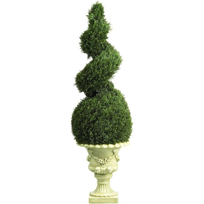 Cedar Spiral 4-foot Silk Tree with Decorative Vase
