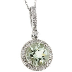 14k Gold Green Amethyst and 1/6ct TDW Diamond Necklace