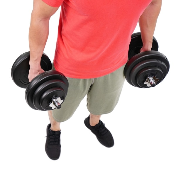 Sunny Health & Fitness No. 060 Vinyl 40 Pound Dumbbell Set