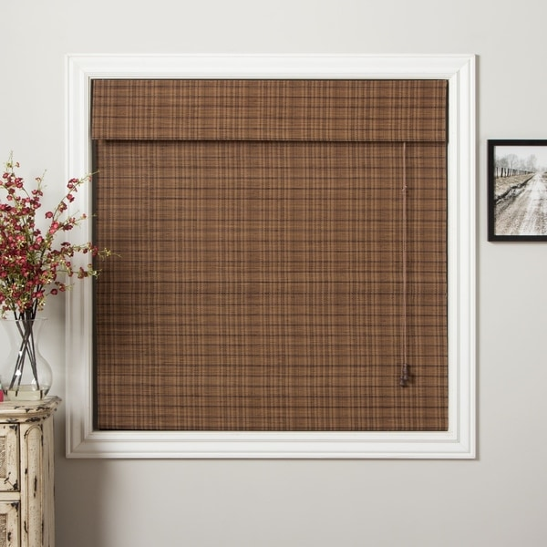 Arlo Blinds Rangoon Bamboo Roman Shade with 98 Inch Height - 67 w x 98 h inches