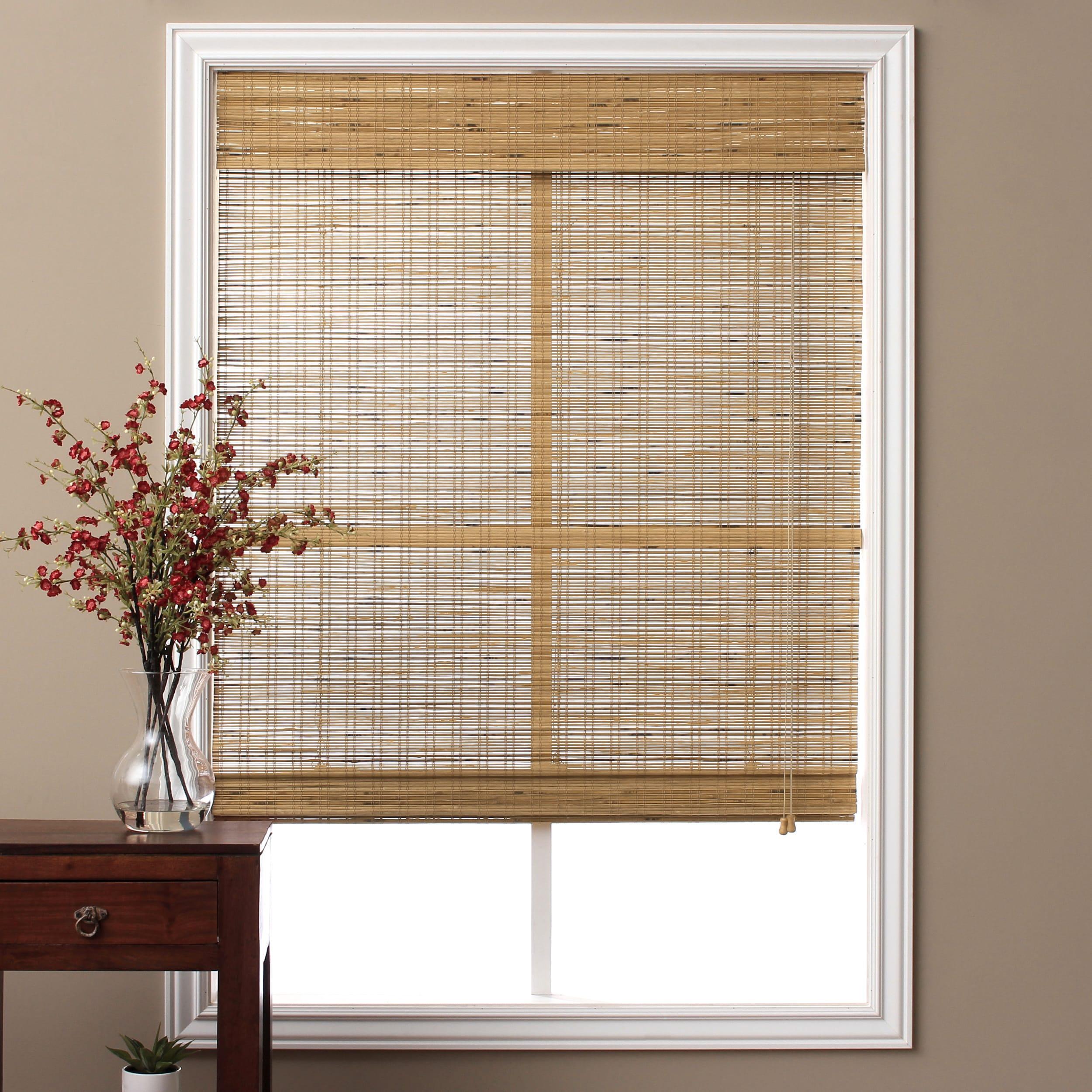 Bamboo Roman Shades Window Blinds Curtain Roll Light Filter Tuscan Home Decor