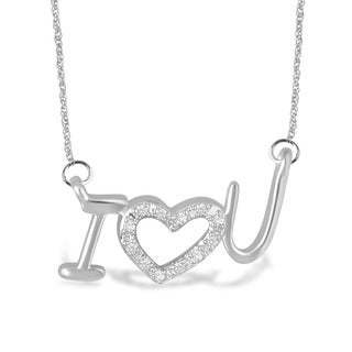 Unending Love Sterling Silver Diamond 'I Love You' Necklace