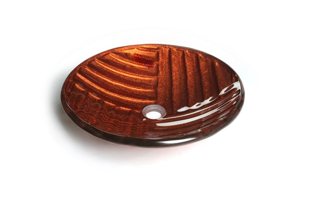 Woven Bronze Tempered Glass Vessel Sink