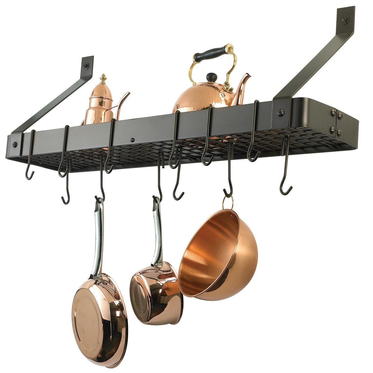 Kitchen, Dining & Bar 20 Pack Heavy Duty Kitchen Utensils Cookware Pot & Pan Rack Hanging Hooks Black Home & Garden