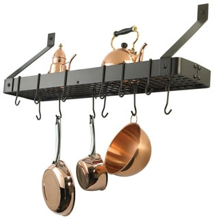 Link to Old Dutch Wall-Mount Bookshelf Pot Rack with Grid & 12 Hooks Similar Items in Kitchen Storage