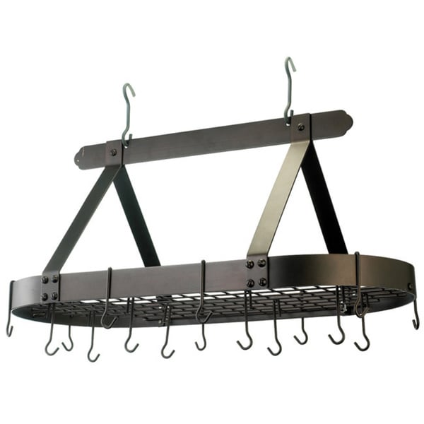 Old Dutch Wall-Mount Bookshelf Pot Rack with Grid & 12 Hooks