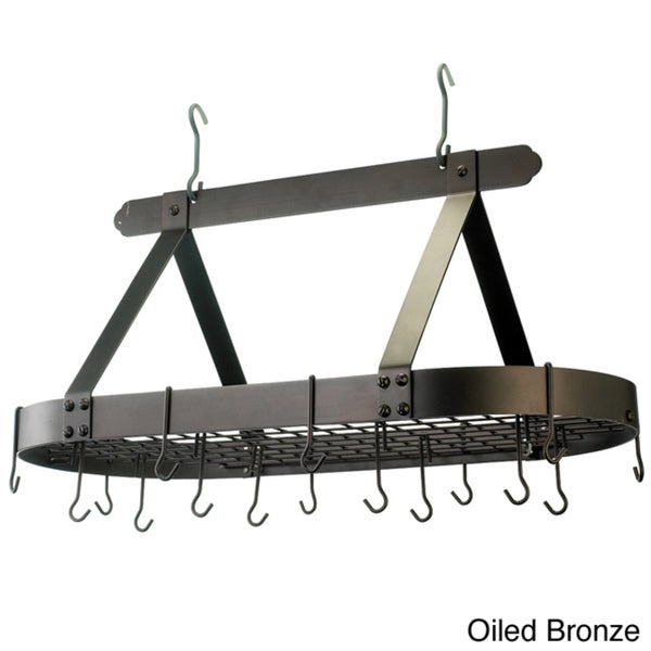 Hanging Oval Steel 16-hook Grid Pot Rack