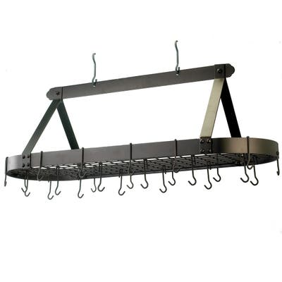 Old Dutch Oval Hanging Pot Rack with Grid & 24 Hooks