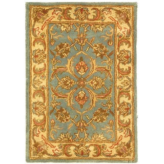 Safavieh Handmade Heritage Timeless Traditional Blue/ Beige Wool Rug (2' x 3')