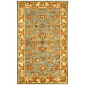 Safavieh Handmade Heritage Timeless Traditional Blue/ Beige Wool Rug - 3' x 5'