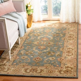 Safavieh Handmade Heritage Timeless Traditional Blue/ Beige Wool Rug (4' x 6')