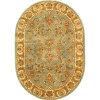 "Safavieh Handmade Heritage Timeless Traditional Blue/ Beige Wool Rug - 4'6"" x 6'6"" oval"