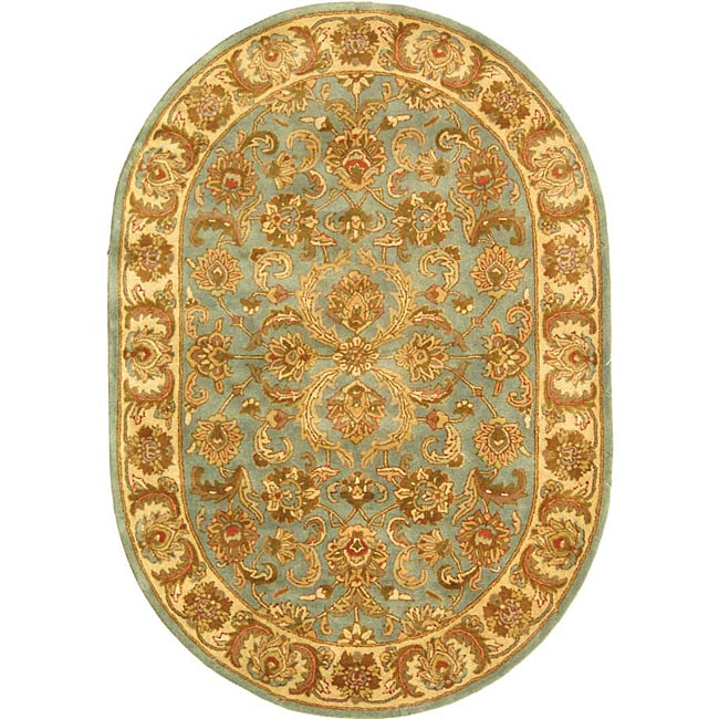 Safavieh Handmade Heritage Timeless Traditional Blue/ Beige Wool Rug (7'6 x 9'6 Oval)
